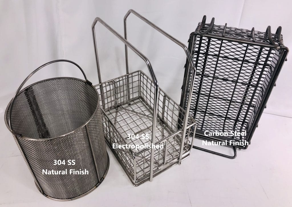 metal finish on baskets